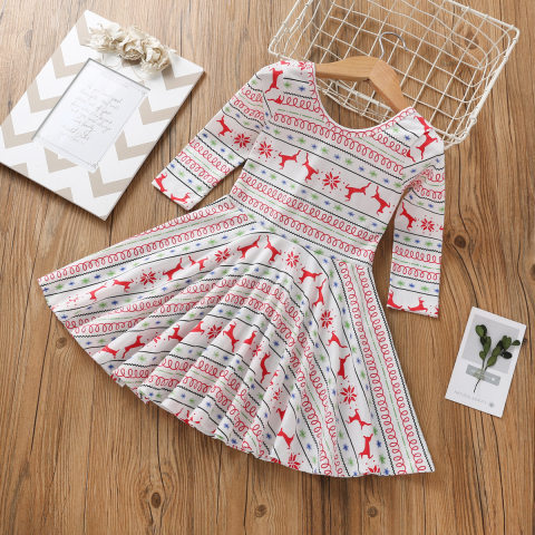 Christmas Elk Snow Print Round Neck Long Sleeve Knit Dress