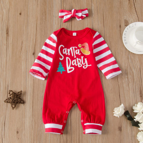 Christmas Letters Printed Red Striped Long Sleeve Romper