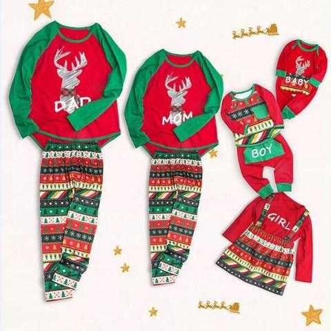 Christmas Print Red And Green Family Matching Pajamas