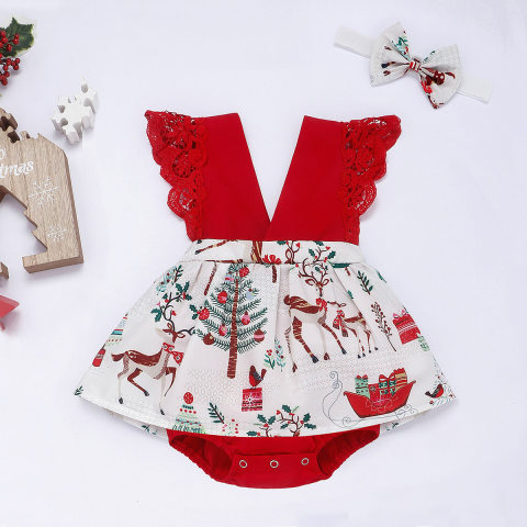 Christmas Print Red Lace Strap Romper