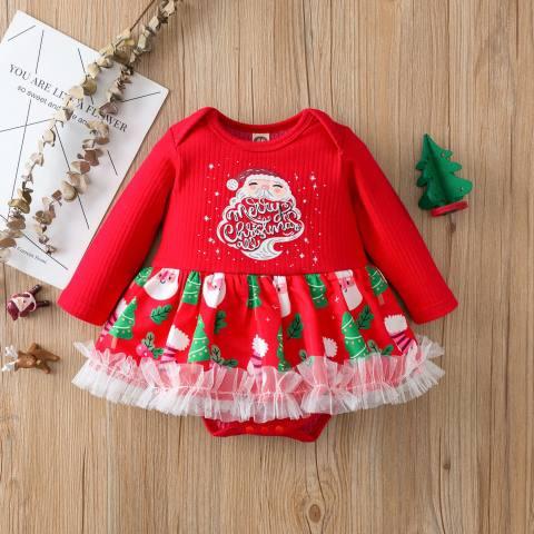 Christmas Print Red Long Sleeve Romper