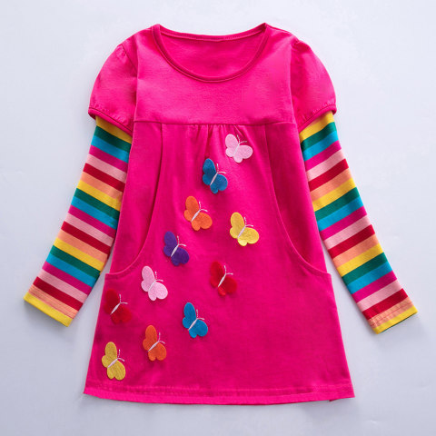 Girl butterfly embroidery rainbow dress