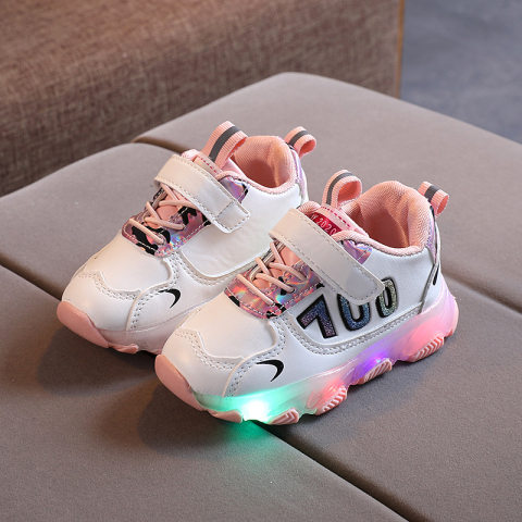 Childrens led light contrast lace up sneakers