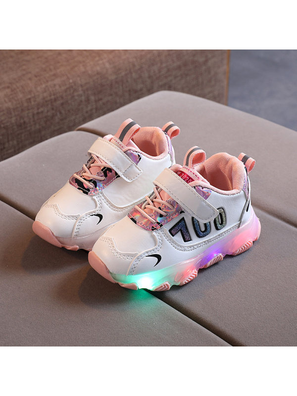 Kids Led Light Contrast Lace-Up Sneakers