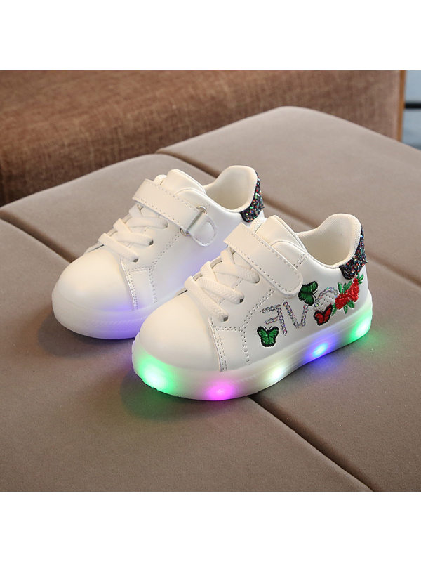 Girls Led Light Flower Embroidery White Sneakers