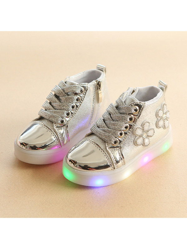Girls Led Lights Lace Up Sneakers