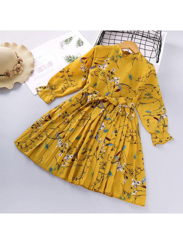 【2Y-9Y】Girl's Flower Printed Long-sleeved Dress
