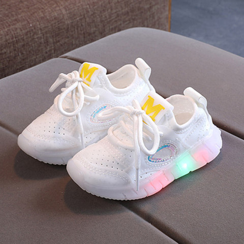 Childrens led light mesh lace up sneakers