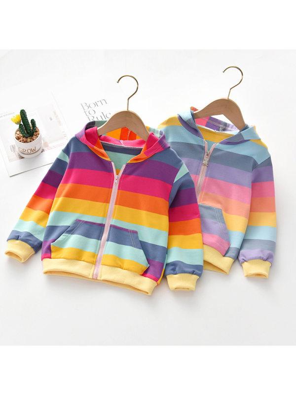 【18M-9Y】Rainbow Stripe Print Hooded Sweatshirt Jacket - 3106