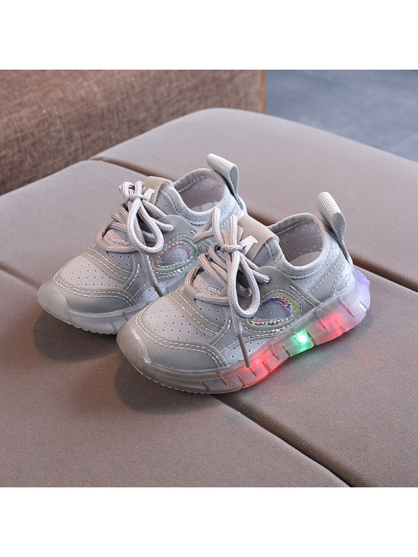 Kids Led Light Mesh Lace-up Sneakers