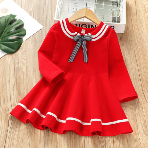 College Style Bowknot Lapel Long Sleeve Dress