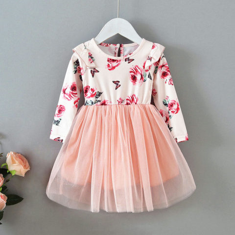 Flower Print Stitching Mesh Round Neck Long Sleeve Dress