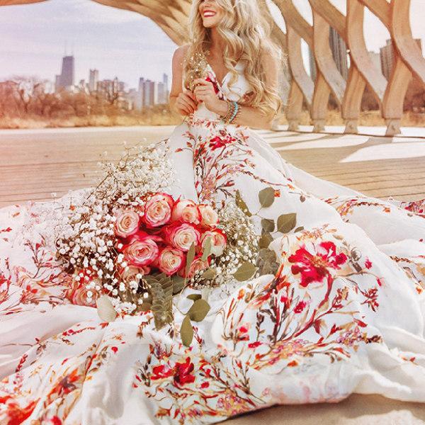 Maternity Red Flower Sleeveless Split White Maxi Dress Photoshoot Dress