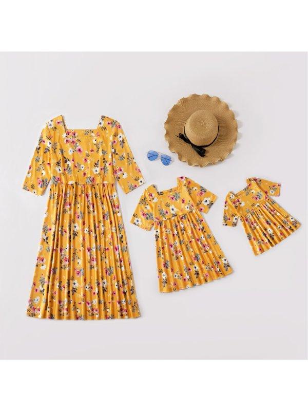 Long Sleeve Yellow Flower Print Mom Girl Dress - 1338