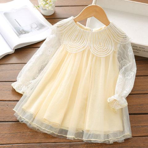 Embroidered PetalCollar Mesh Lace Long Sleeve Short Dress
