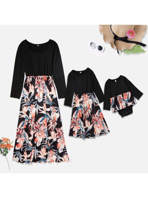 Round Neck Long Sleeve Flower Print Mom Girl Matching Dress