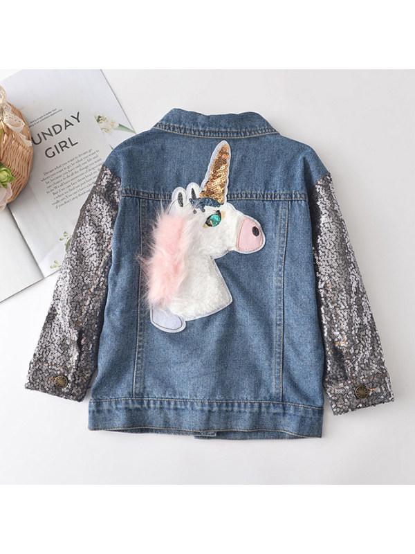 【2Y-9Y】Unicorn Embroidered Sequined Sleeve Denim Jacket