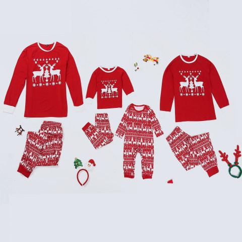Christmas Print Red Knitted Family Pajamas