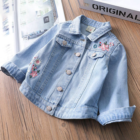 Flower Embroidered Light Blue Autumn Long Sleeved Denim Jacket