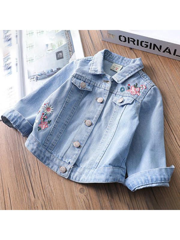 【18M-7Y】Flower Embroidered Light Blue Autumn Long Sleeved Denim Jacket