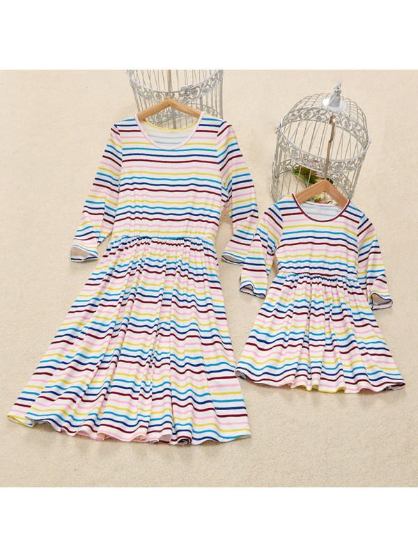 Long Sleeves Colorful Stripe Mom Girl Matching Dress