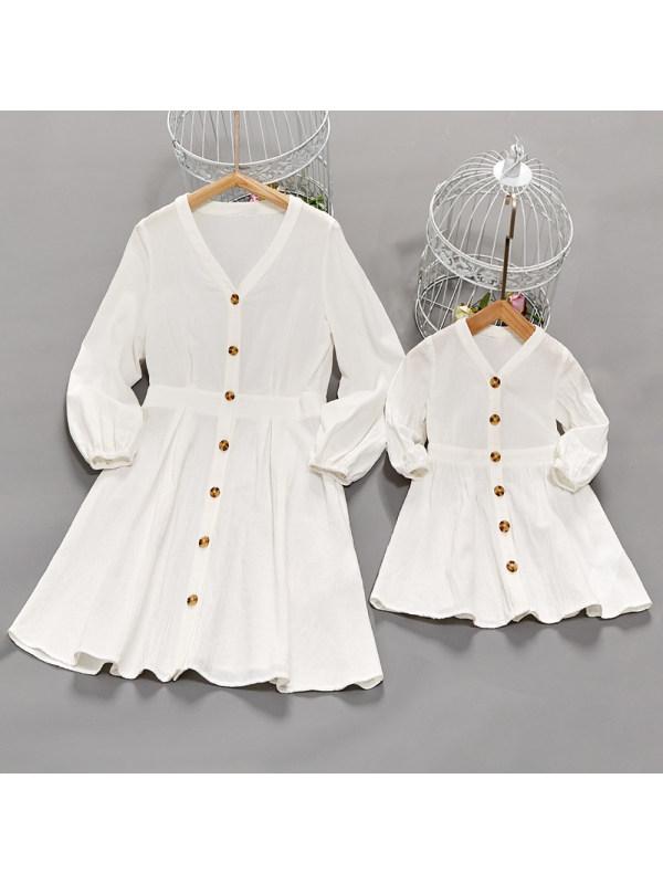 Fashion V-Neck Long Sleeve White Cotton Mom Girl Matching Dress - 1380
