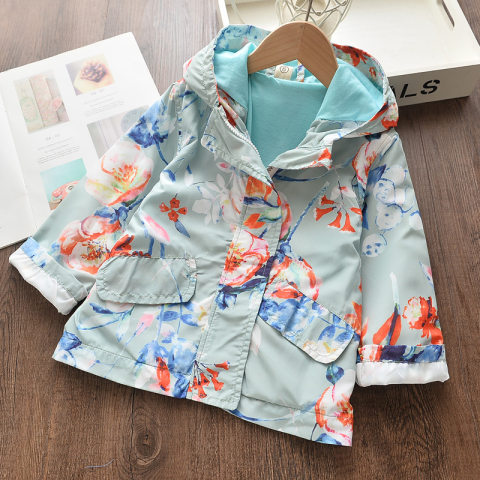 Childrens Autumn Casual Floral Print Hooded Windbreaker Jacket