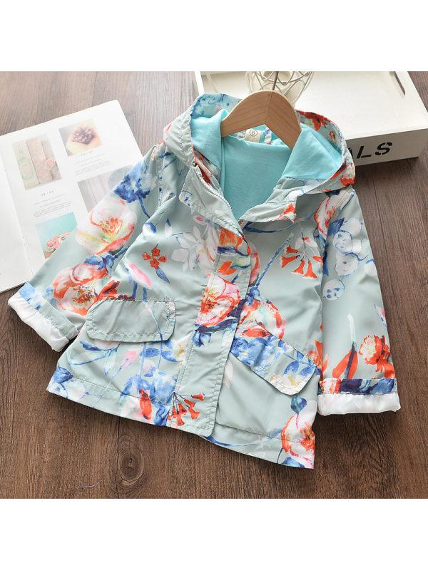 【2Y-9Y】 Casual Floral Print Hooded Windbreaker Jacket