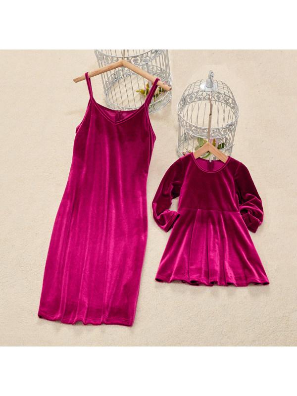 Fashion Rose Red Velvet Mom Girl Matching Dress