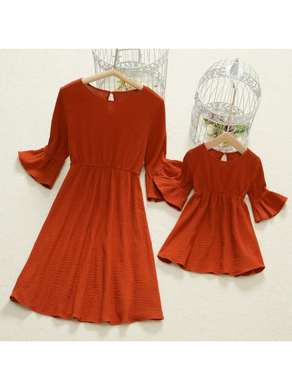 Round Neck Bell Sleeve Orange Mom Girl Matching dress