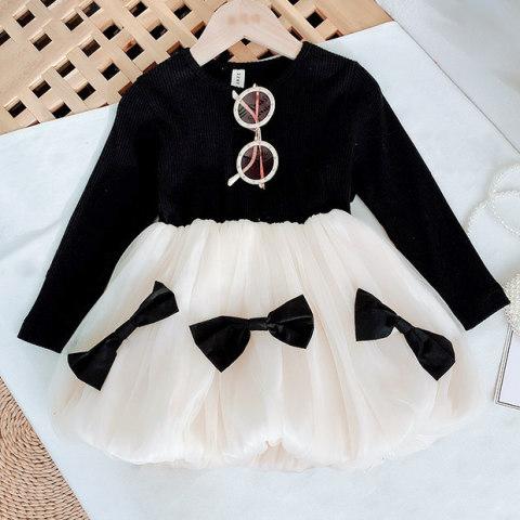 Black Ribbed Stitching Mesh Bow Long Sleeve Dress