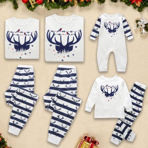 Christmas Printed White T shirt And Pants Set Family Pajamas