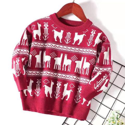 Childrens elk pattern round neck sweater