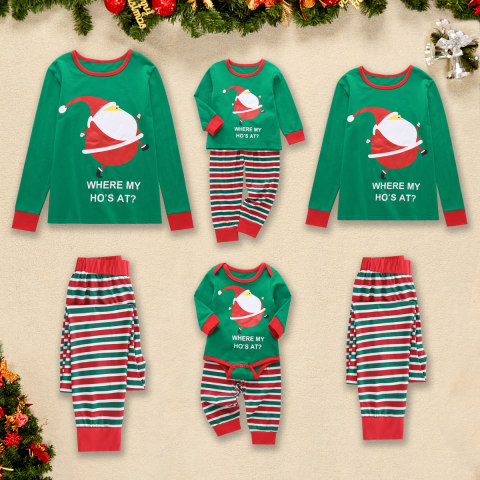 Christmas Printed Green T shirt And Striped Trouser Set Family Pajamas
