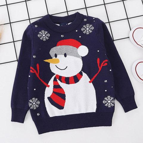 Childrens snowman pattern round neck sweater