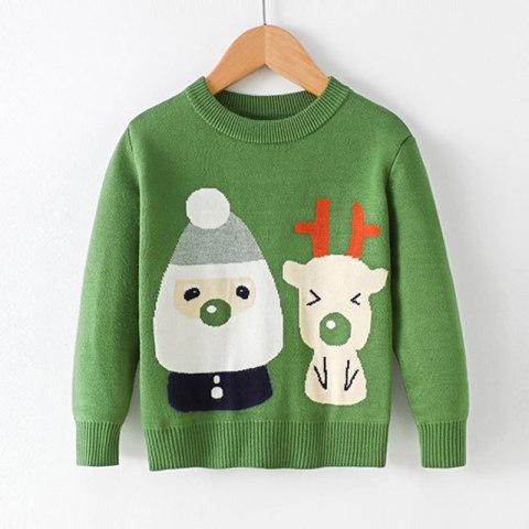 Childrens snowman and elk pattern round neck sweater