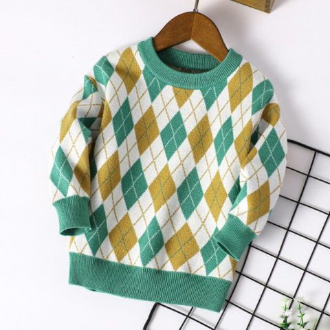 Childrens diamond check pattern sweater