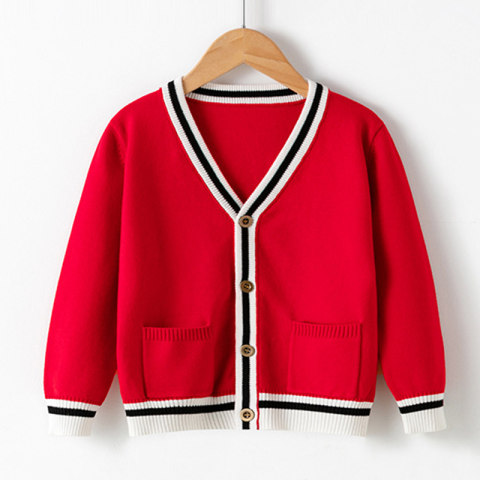 Childrens solid color sweater cardigan