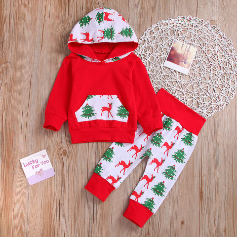 Childrens Christmas tree print sweatshirt and trousers suit
