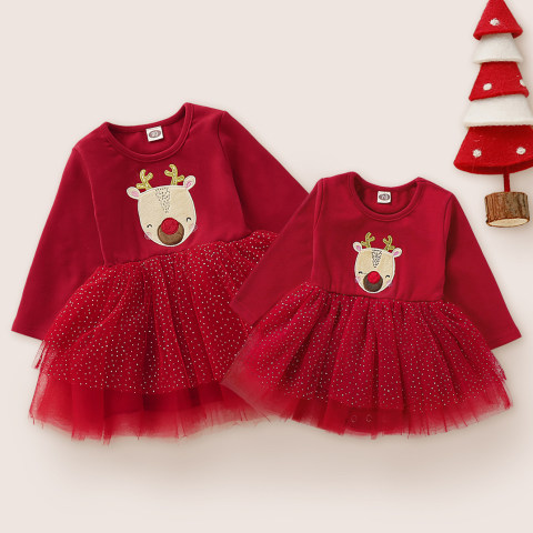 Elk Embroidered Stitching Mesh Red long Sleeved Sisters Dress And Romper