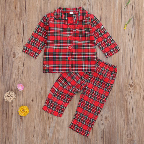Childrens red plaid shirt and pants suit