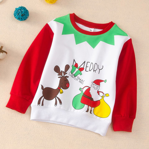 Childrens Christmas round neck long sleeve sweater