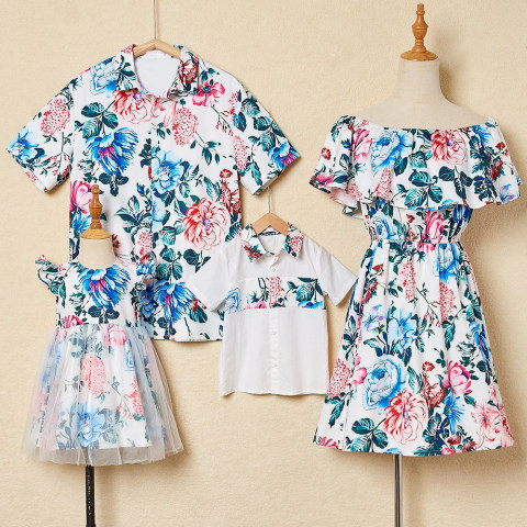 Fashion flower print family matching outfits