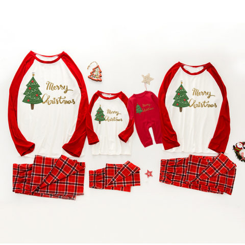 Christmas tree pattern family matching outfits