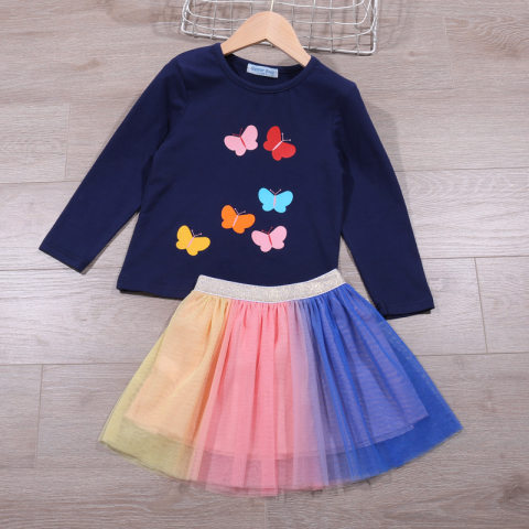 Butterfly Blue Long Sleeved T shirt And Colorful Mesh Skirt Set