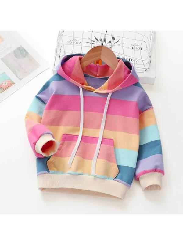 【2Y-9Y】Girls Color Striped Long Sleeve Hoodie