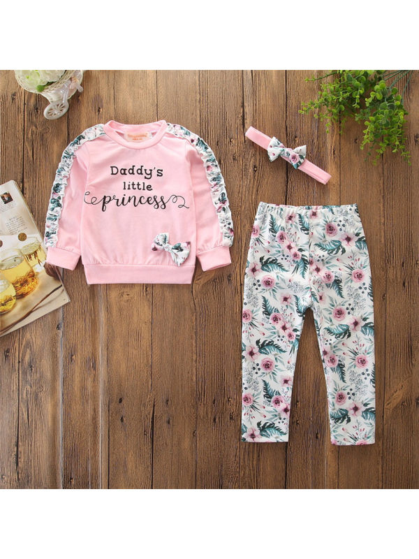 【6M-3Y】Letter Print Pink Sweatshirt And Flower Trousers Set With Headband