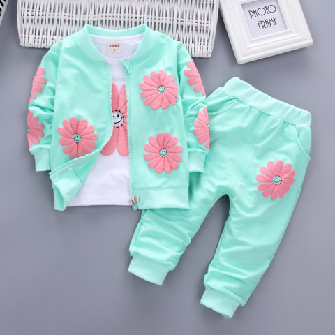 Floral Print T shirt Jacket Pants Three Piece Set