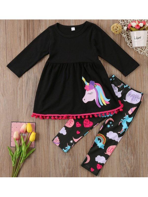 【18M-7Y】Girls Unicorn Print Long Sleeved Dress And Leggings Set