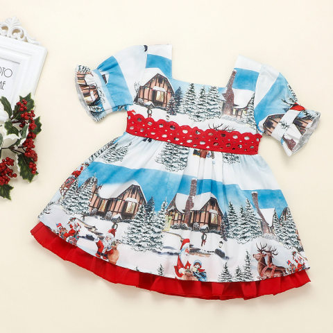 Girl Christmas red bow dress